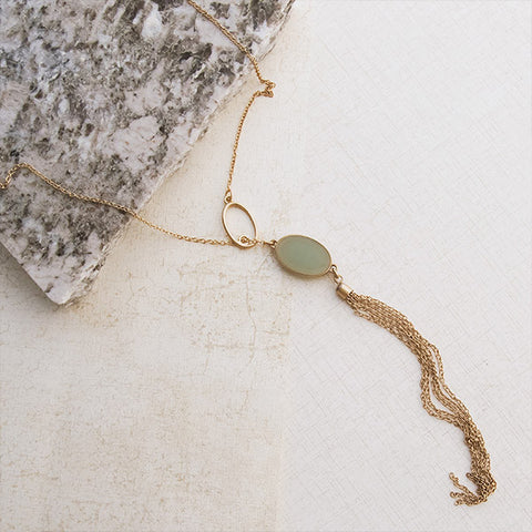 Seafoam Lariat Gold Necklace