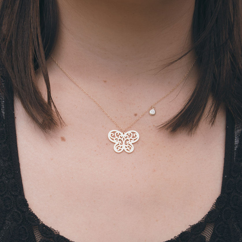 Yellow Butterfly Gold Necklace