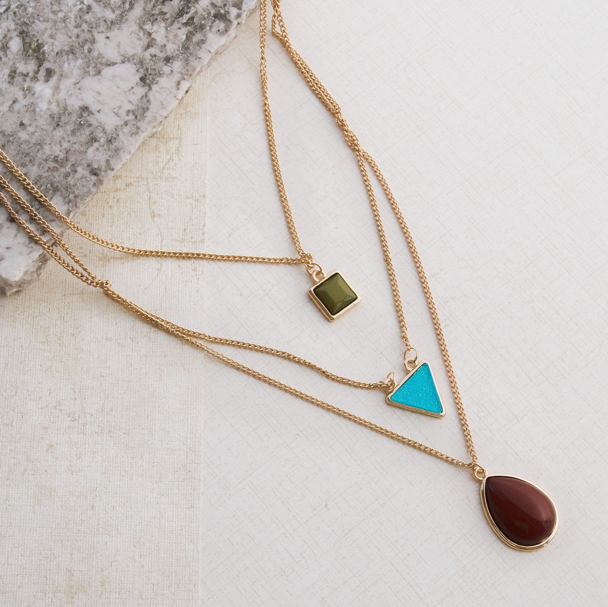 Triple Play Gold Necklace