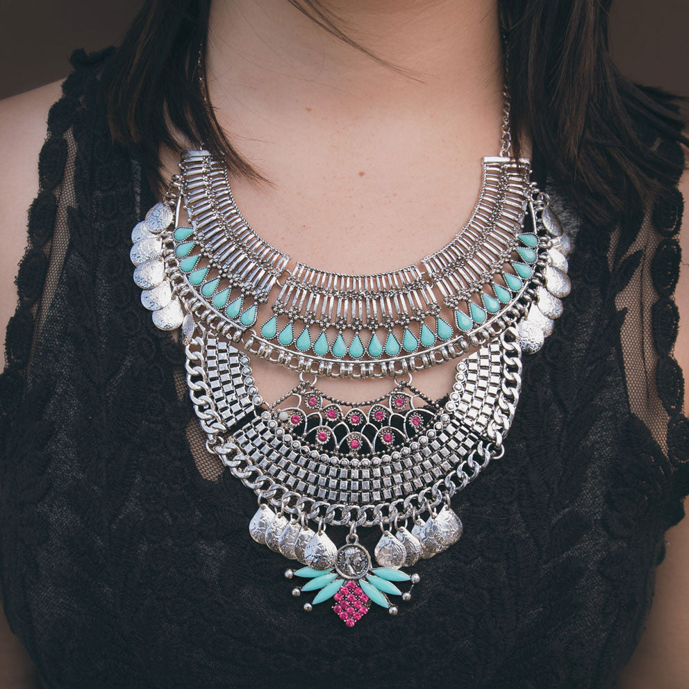 Aztec Warrior Silver Necklace