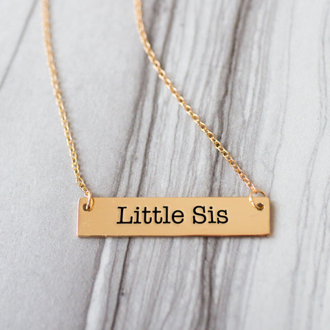 Little Sister Gold / Silver Bar Necklace - Sister Gifts - pipercleo.com