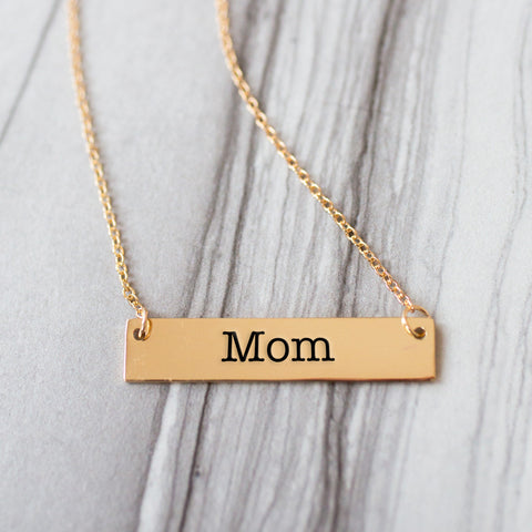 Mom Gold / Silver Bar Necklace - pipercleo.com