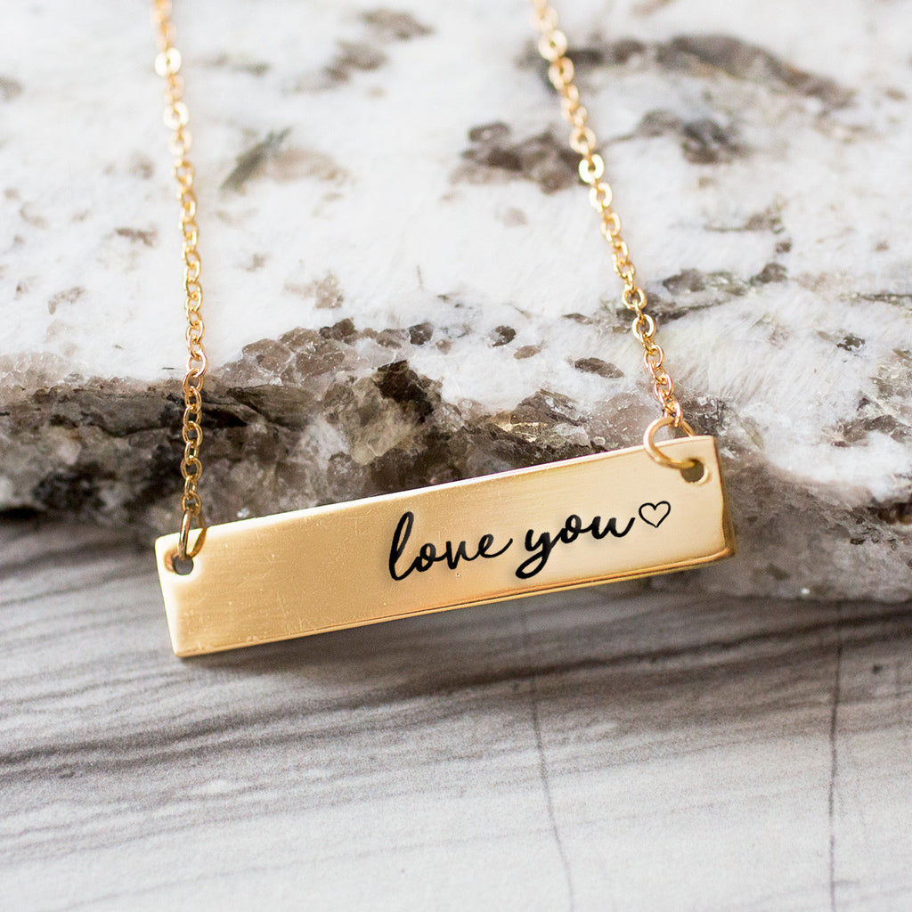 Love You Gold / Silver Bar Necklace - pipercleo.com