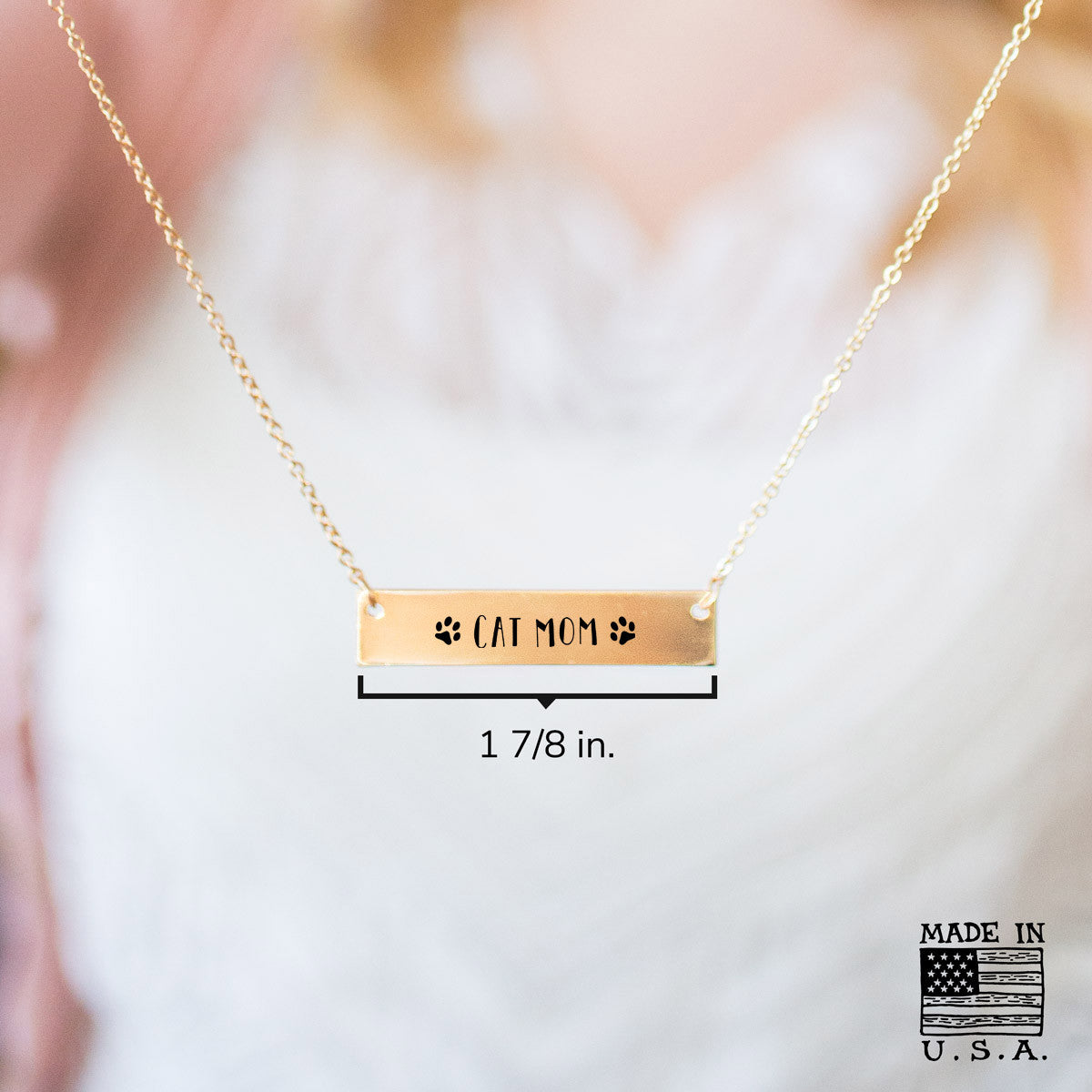 Cat Mom Gold / Silver Bar Necklace - pipercleo.com