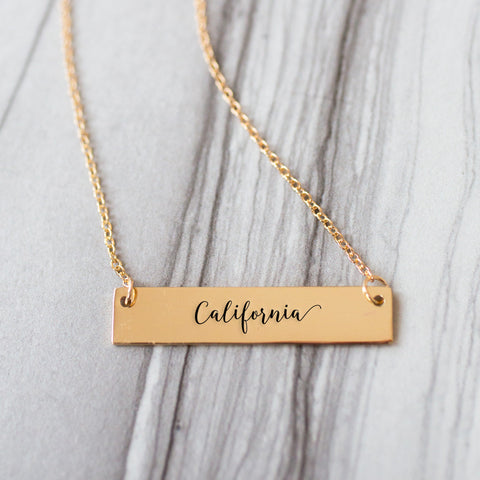 California Gold / Silver Bar Necklace