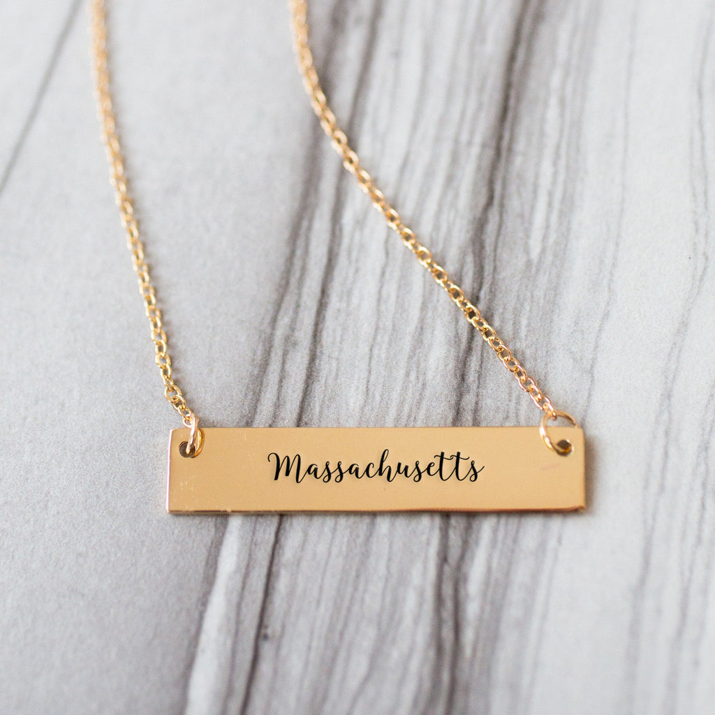 Massachusetts Gold / Silver Bar Necklace - pipercleo.com