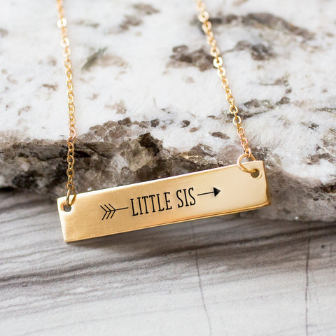 Little Sister Arrow Gold / Silver Bar Necklace - Sister Gifts