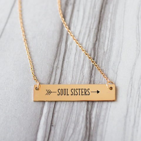 Soul Sister Arrow Gold / Silver Bar Necklace - Sister Gifts - pipercleo.com