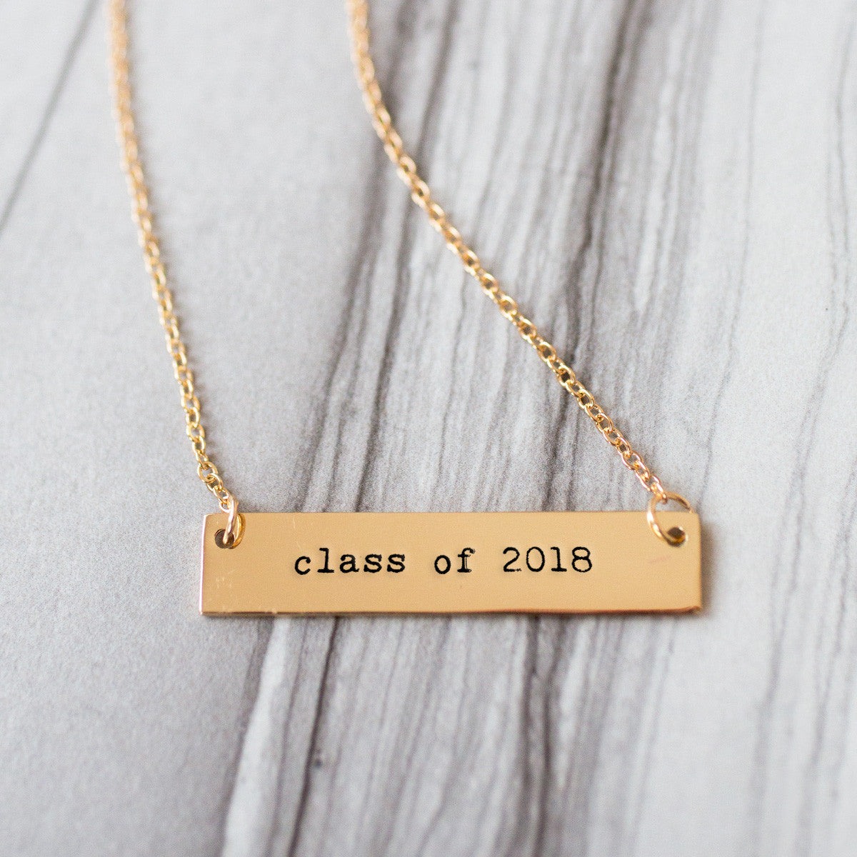 Class of 2018 Gold / Silver Bar Necklace - pipercleo.com