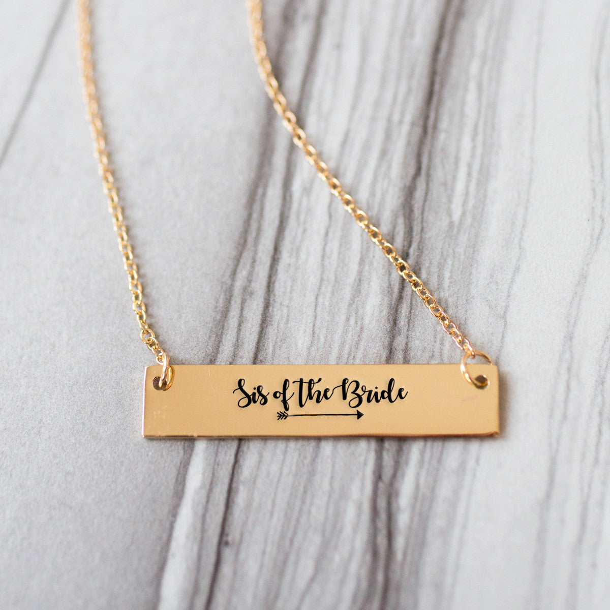 Sister of the Bride Gold / Silver Bar Necklace - Bridesmaid Gift