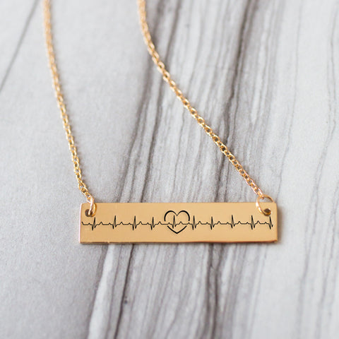 Beating Heart Gold / Silver Bar Necklace