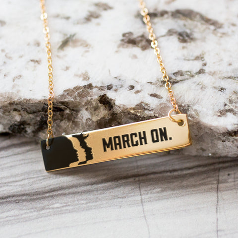 March On Bar Gold / Silver Necklace - pipercleo.com