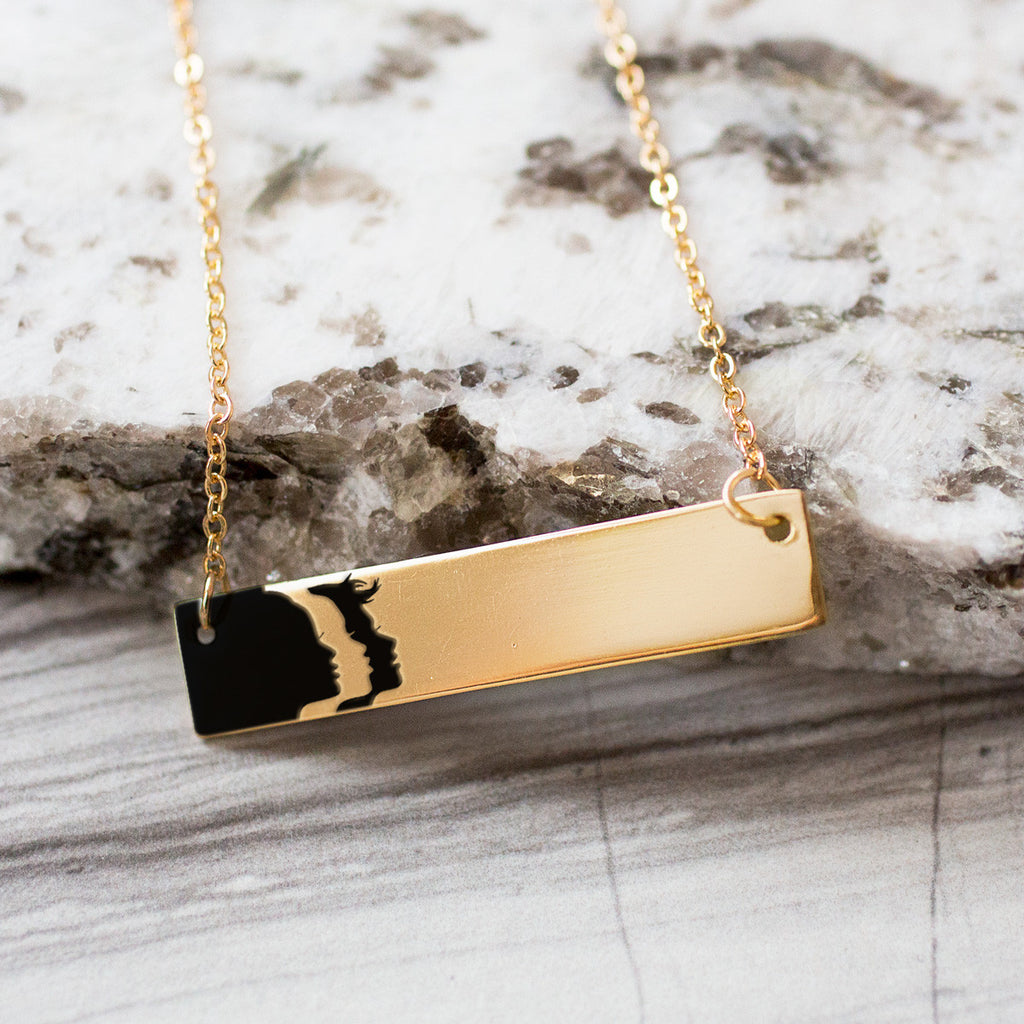 Woman's March Logo Gold / Silver Bar Necklace - pipercleo.com