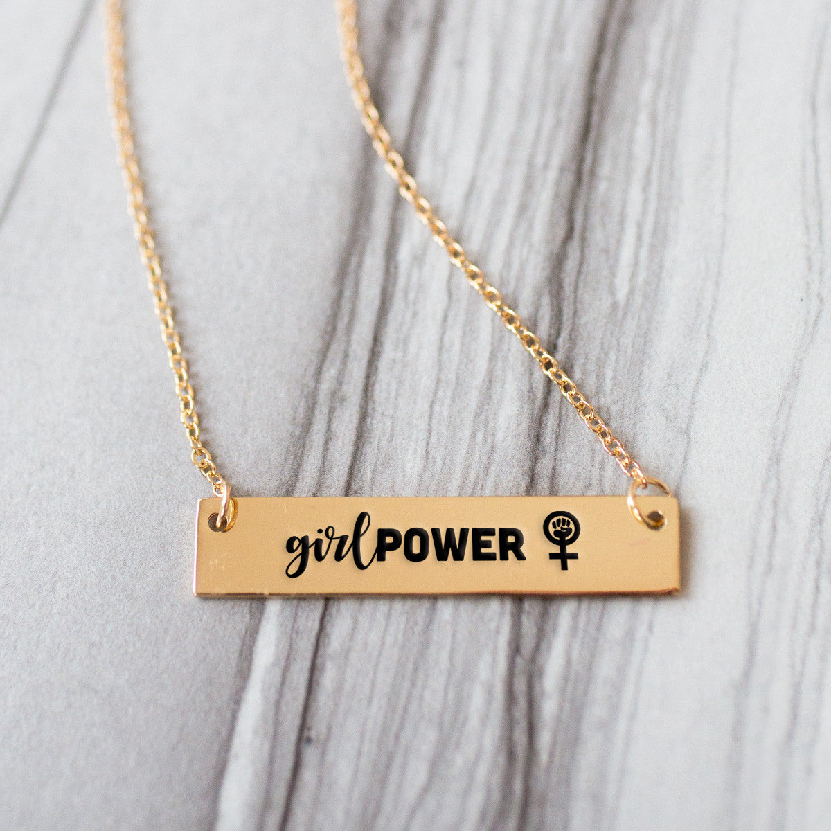 Girl Power Gold / Silver Bar Necklace - pipercleo.com