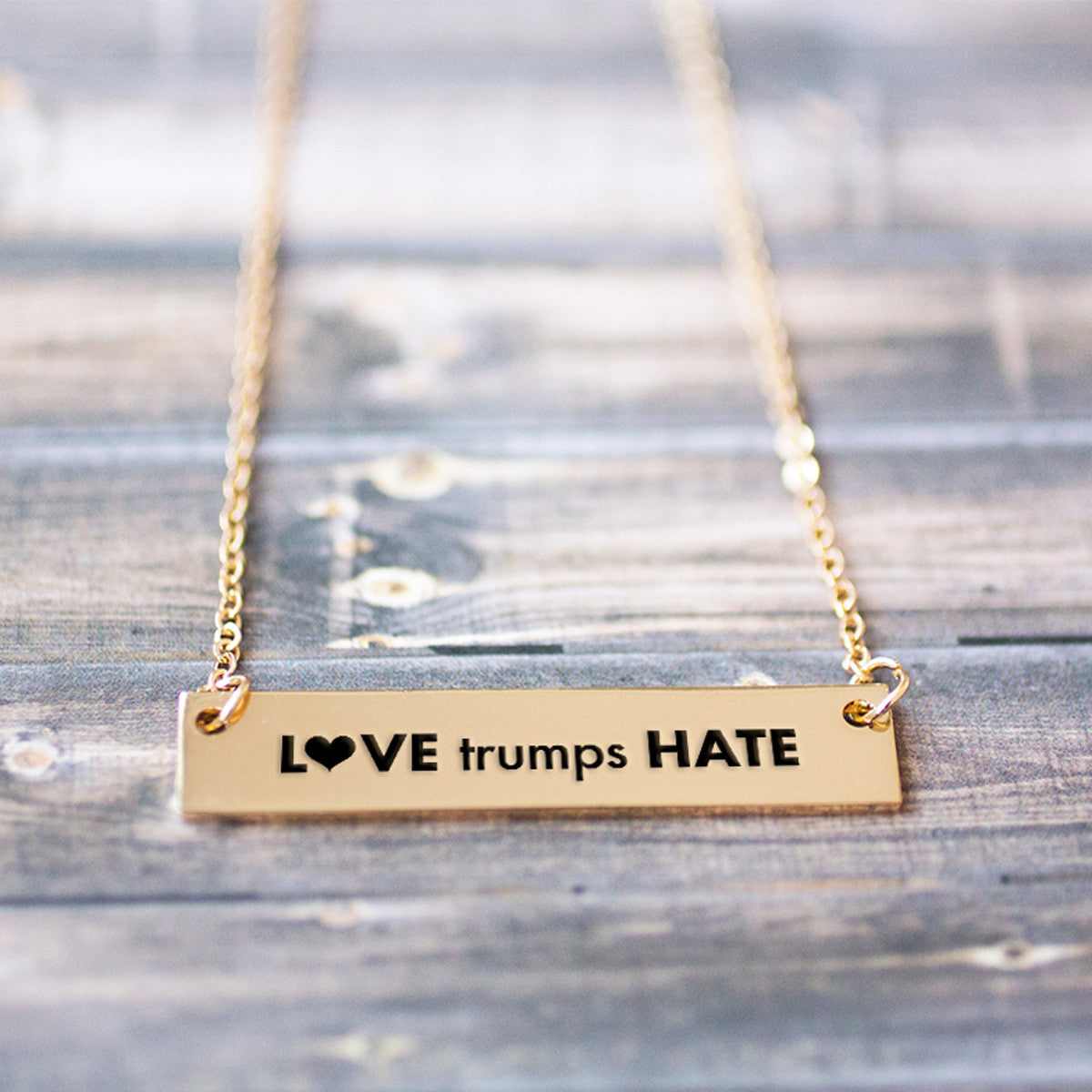 Love Trumps Hate Gold / Silver Bar Necklace
