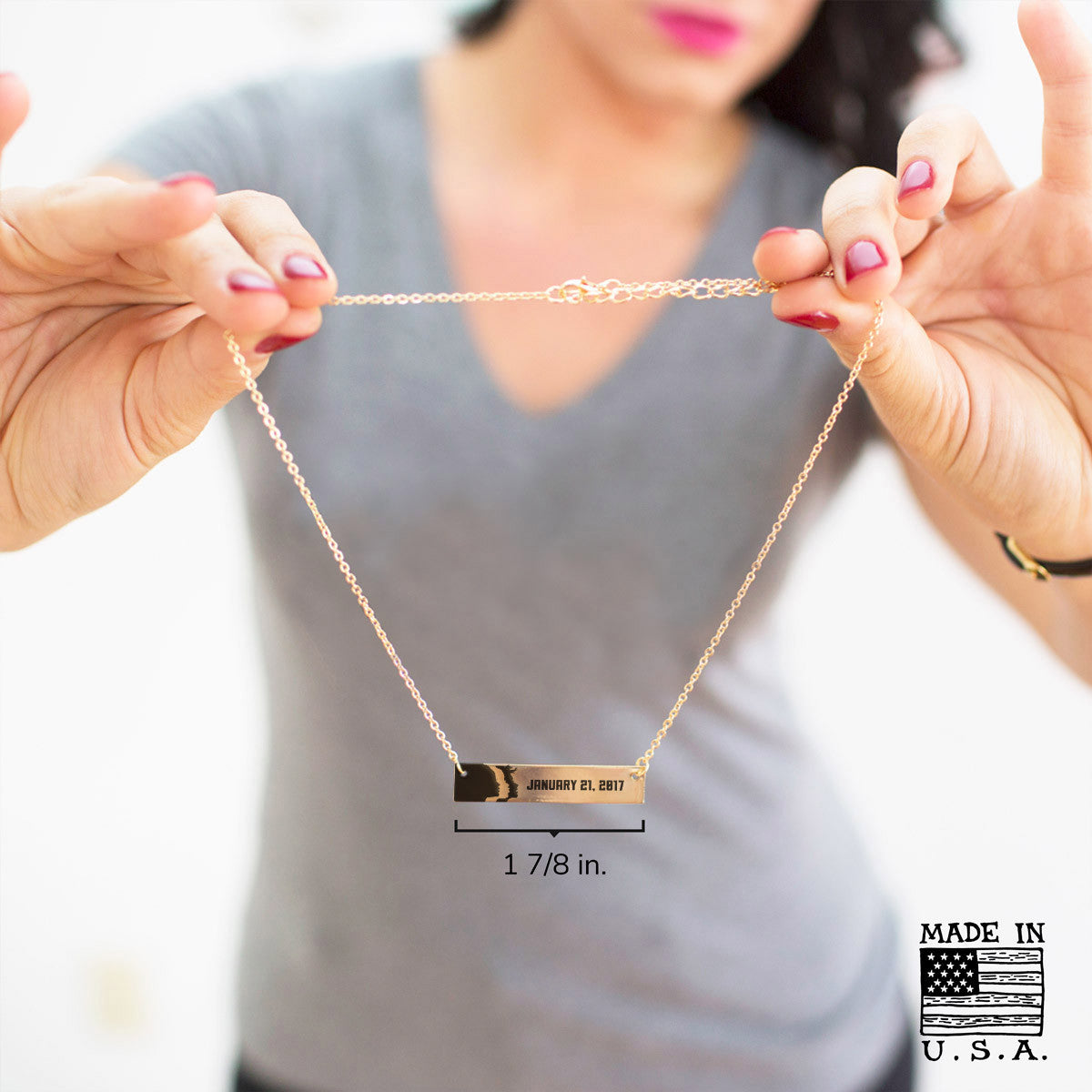 Woman's March 1.21.17 Gold / Silver Bar Necklace - pipercleo.com