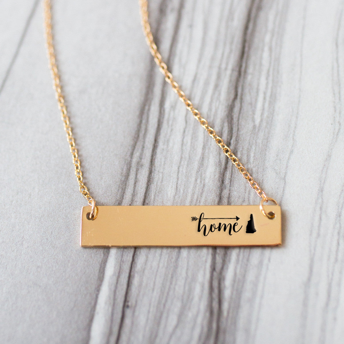 Home is New Hampshire Gold / Silver Bar Necklace - pipercleo.com