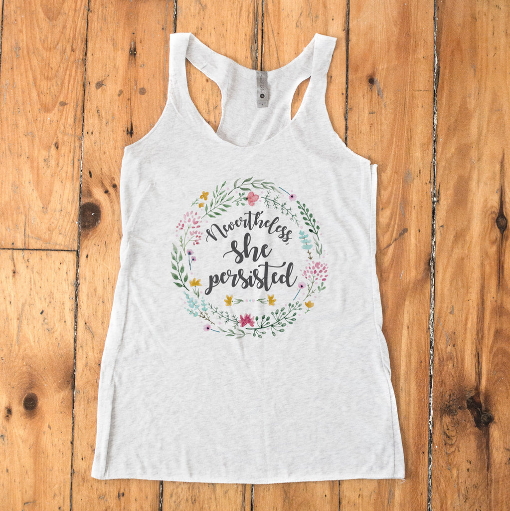 Nevertheless She Persisted Ladies' Tri-Blend Racerback Tank - pipercleo.com