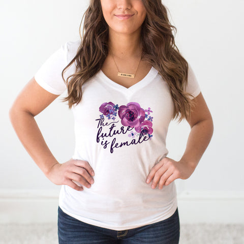 The Future is Female Floral Design White V-Neck T-Shirt