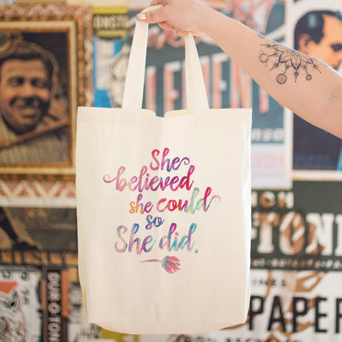 She Believed She Could So She Did Cotton Tote Bag - pipercleo.com