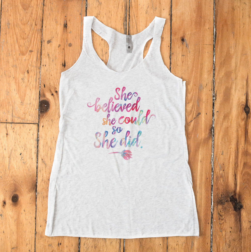 She Believed She Could So She Did Racerback Tank