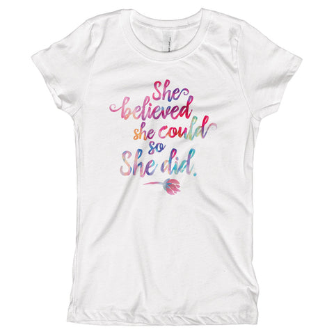 She Believed She Could So She Did Youth Size T-Shirt - pipercleo.com