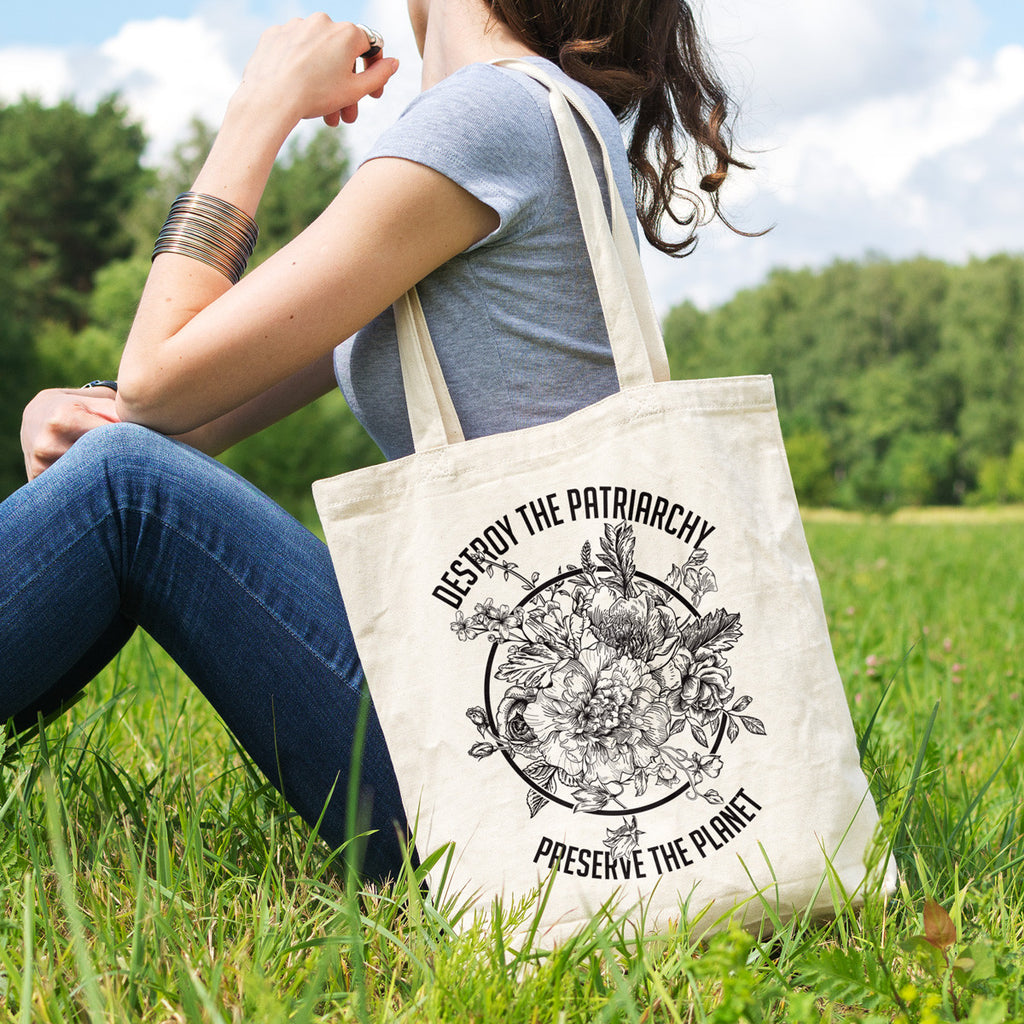 Destroy the Patriarchy Preserve the Planet Black and White Cotton Tote Bag - pipercleo.com
