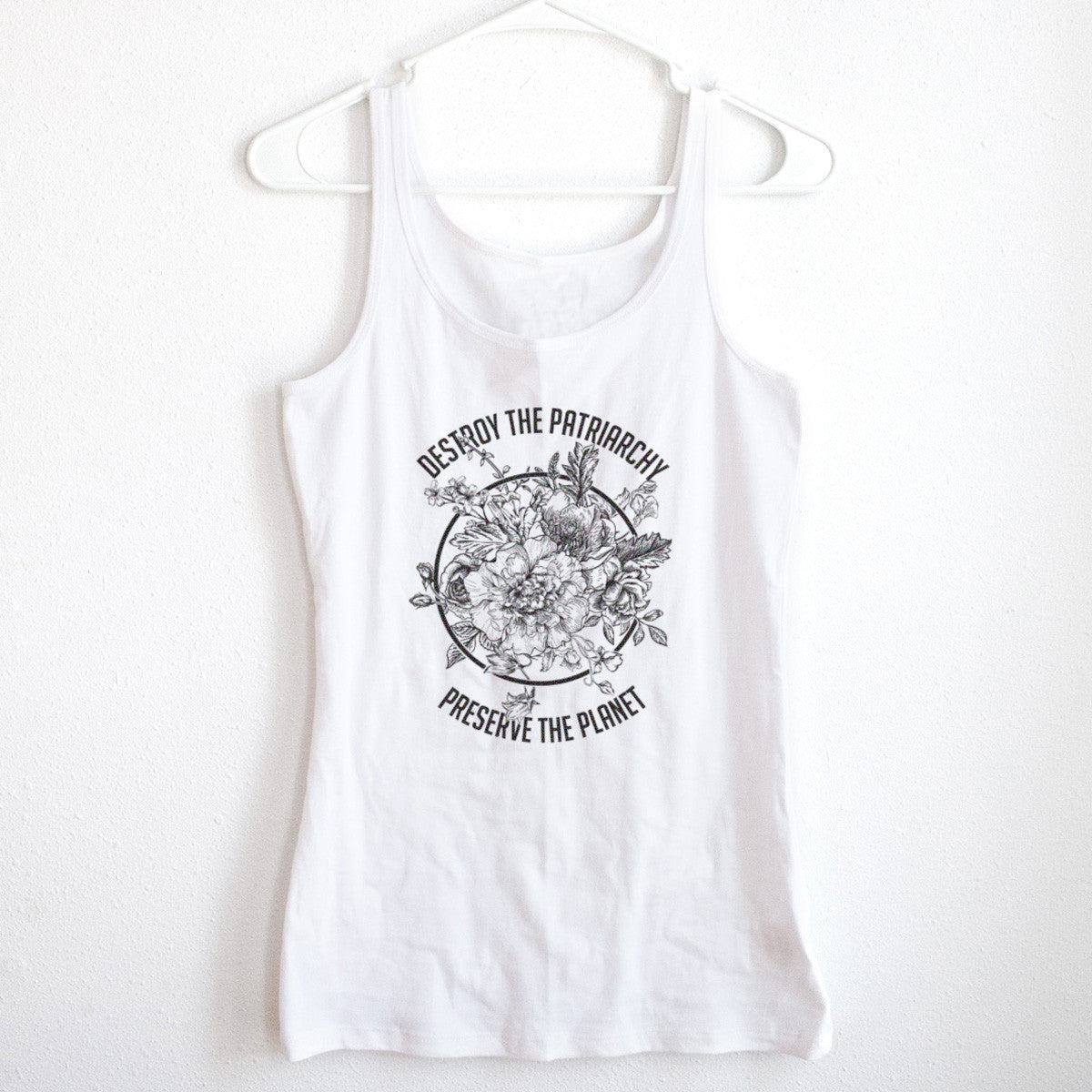 Destroy The Patriarchy Preserve the Planet Black and White Ladies' Tank - pipercleo.com
