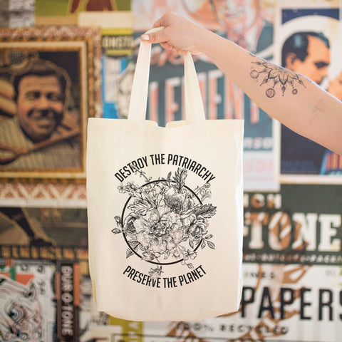 Destroy the Patriarchy Preserve the Planet Black and White Cotton Tote Bag