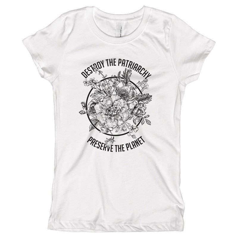 Destroy The Patriarchy Preserve the Planet Black and White Youth Size T-Shirt - pipercleo.com