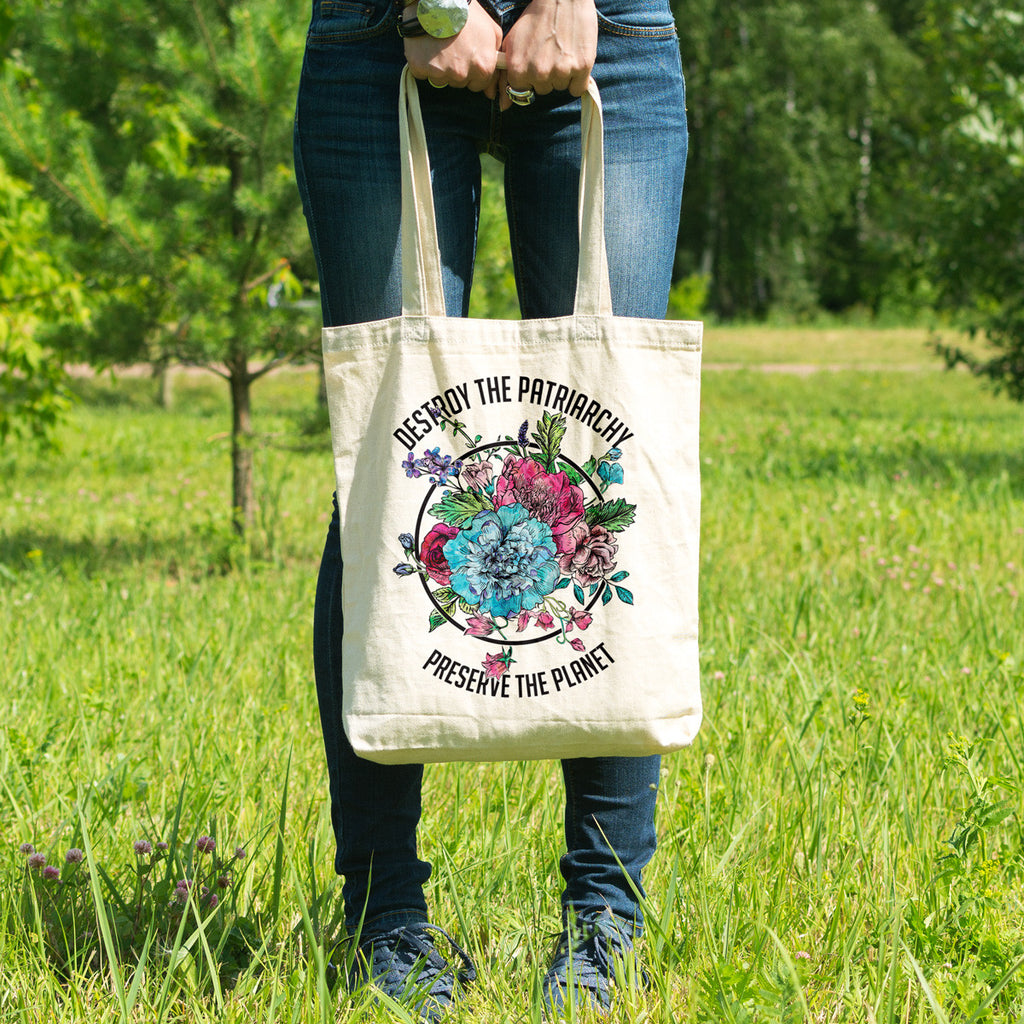 Destroy the Patriarchy Preserve the Planet Cotton Tote Bag - pipercleo.com