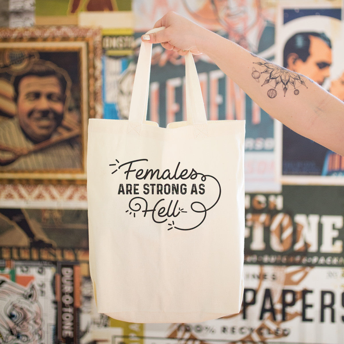 Females are Strong as Hell Cotton Tote Bag - pipercleo.com