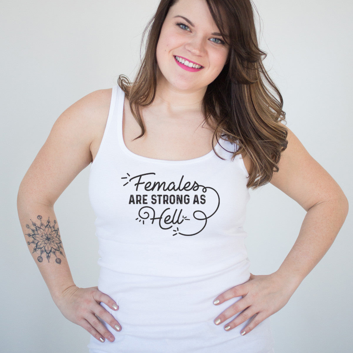 Females are Strong as Hell Black and White Ladies' Tank - pipercleo.com
