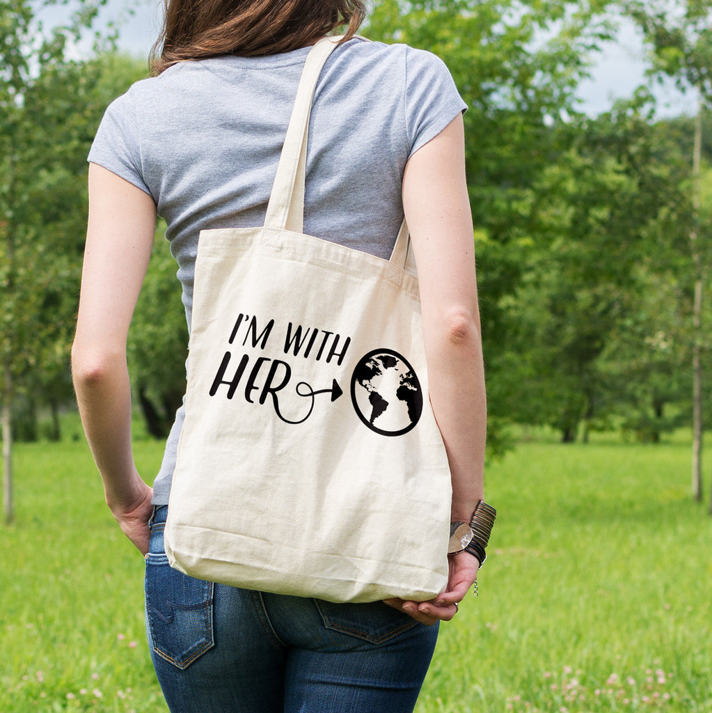 I'm With Her Mother Earth Cotton Tote Bag - pipercleo.com