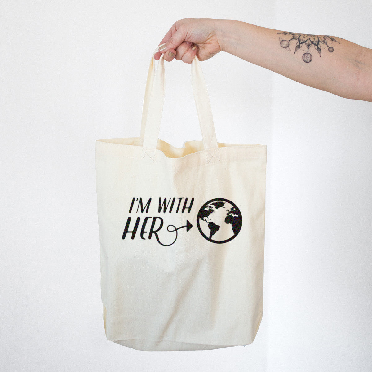 I'm With Her Mother Earth Cotton Tote Bag