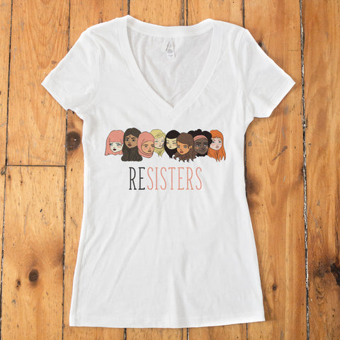 ReSISTERS Women's V-Neck T-shirt - pipercleo.com