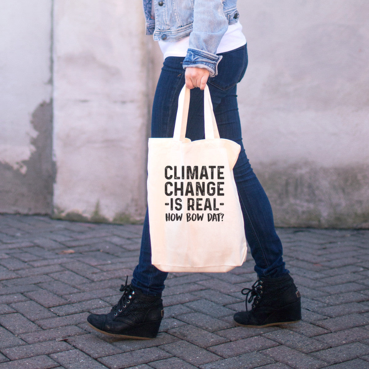 Climate Change is Real - How Bow Dat? Cotton Tote Bag - pipercleo.com