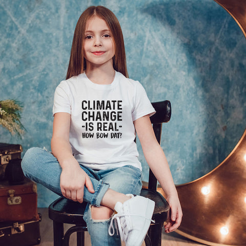 Climate Change is Real - How Bow Dat? Youth Size T-Shirt