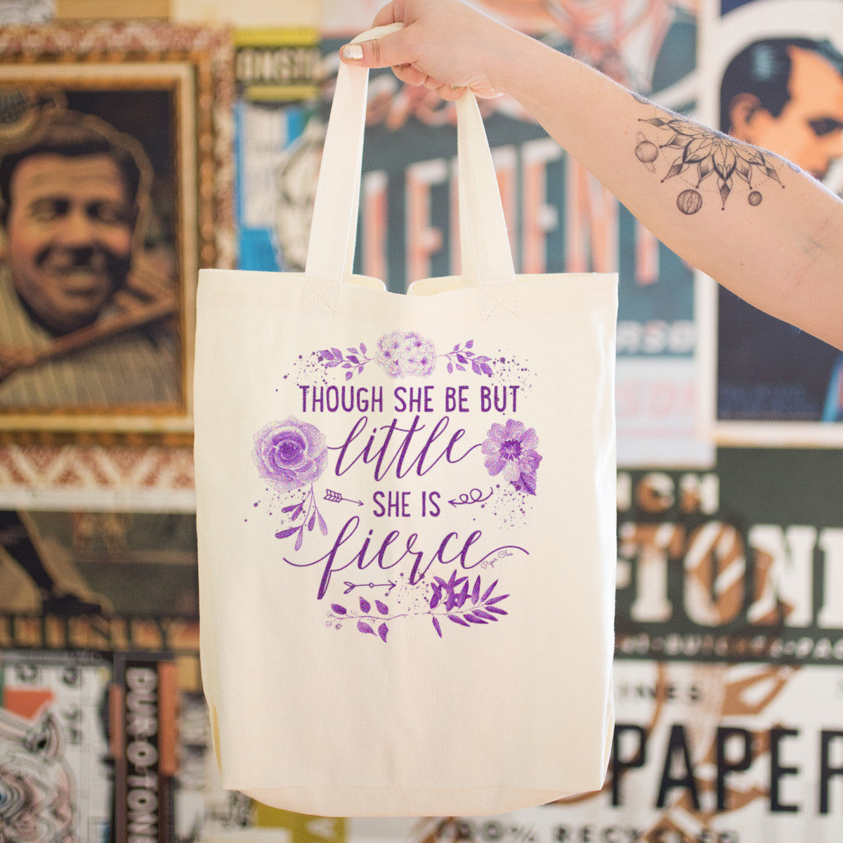 Though She Be But Little She Is Fierce Cotton Tote Bag - pipercleo.com