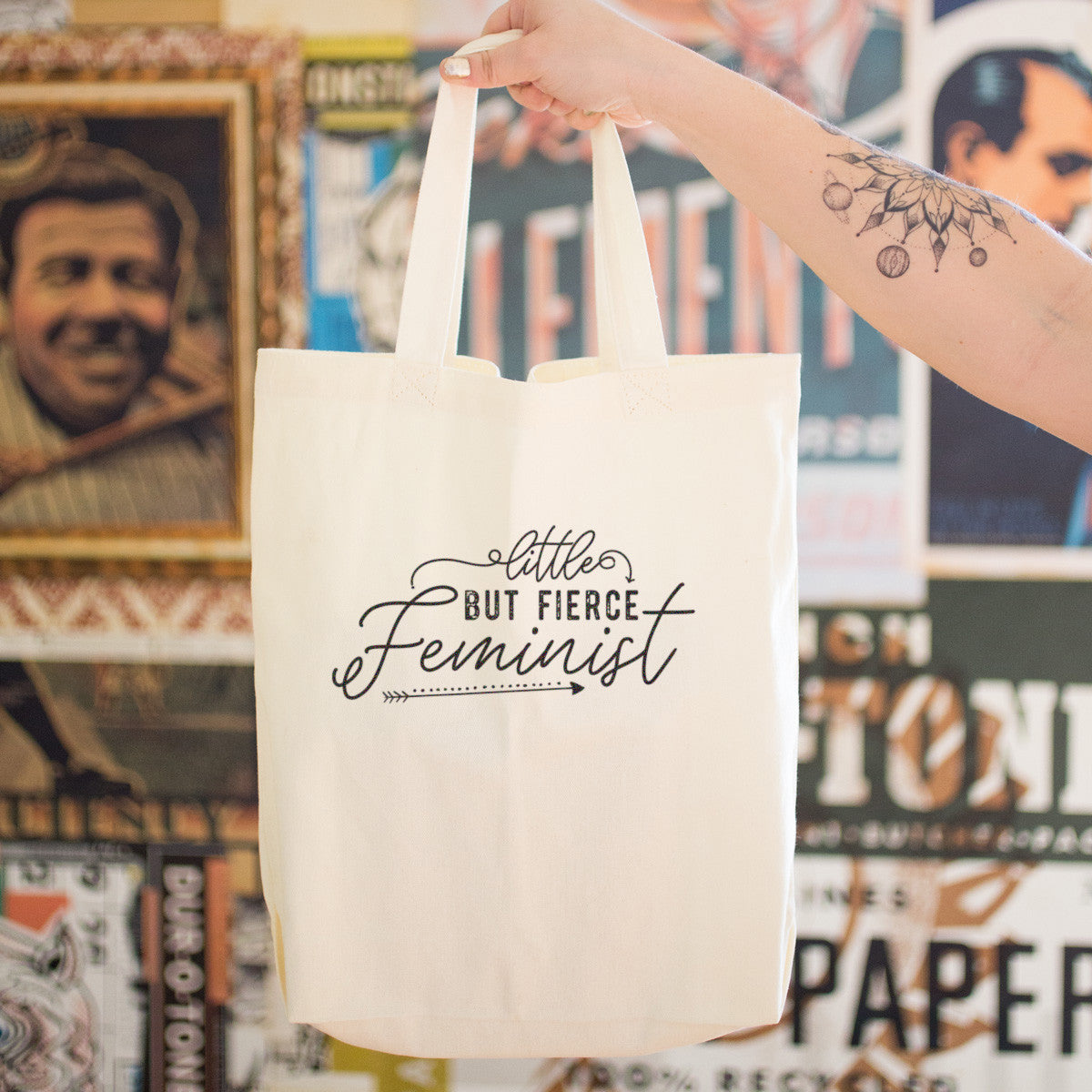 Little But Fierce Feminist Cotton Tote Bag - pipercleo.com