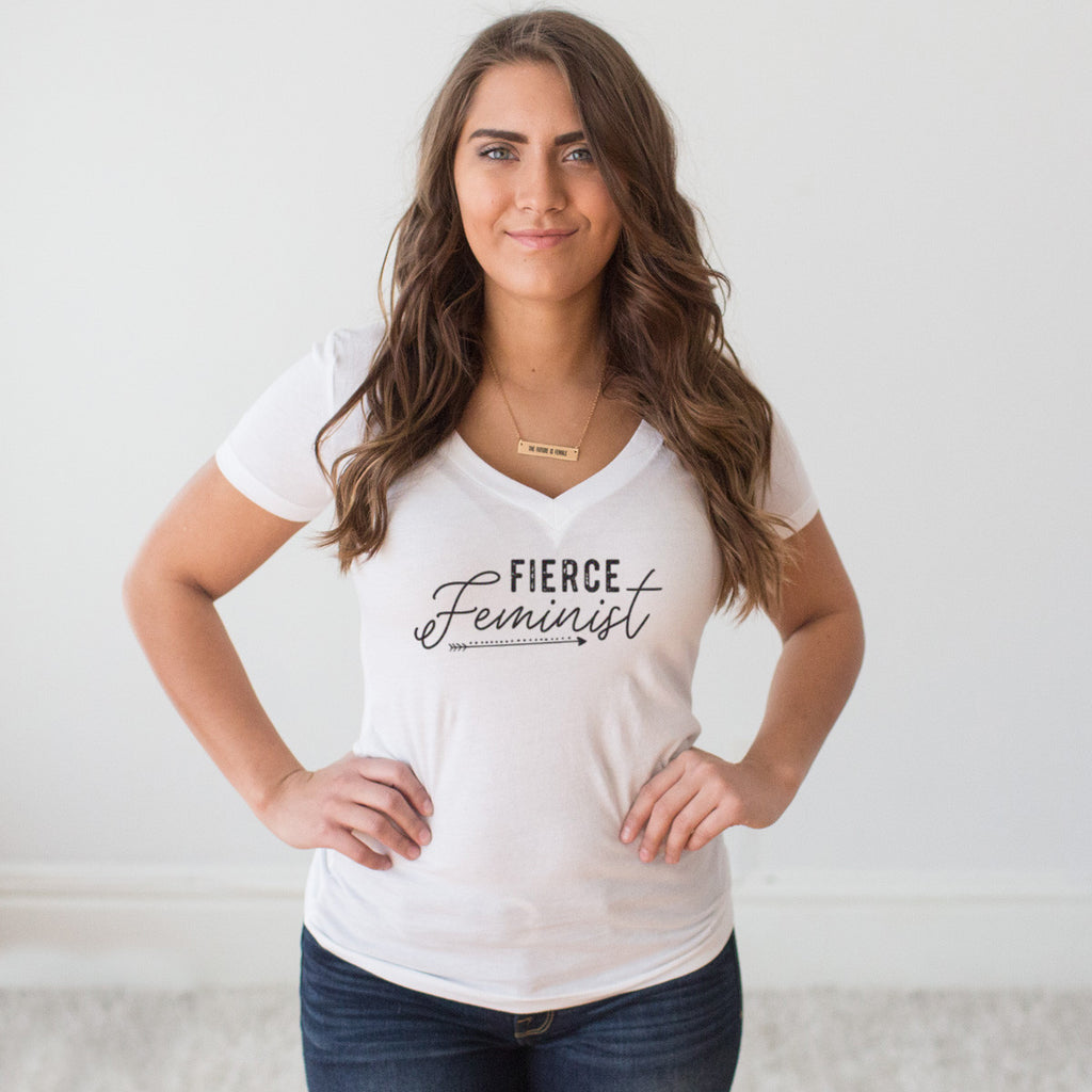 Fierce Feminist V-Neck T-shirt - pipercleo.com