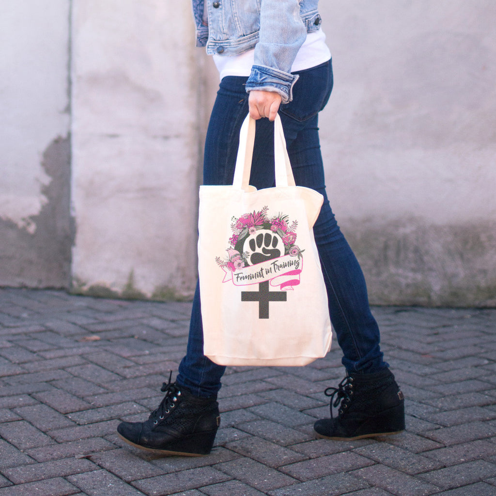 Feminist in Training Cotton Tote Bag - pipercleo.com