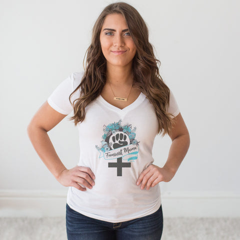 Feminist Mama V-Neck T-shirt - pipercleo.com