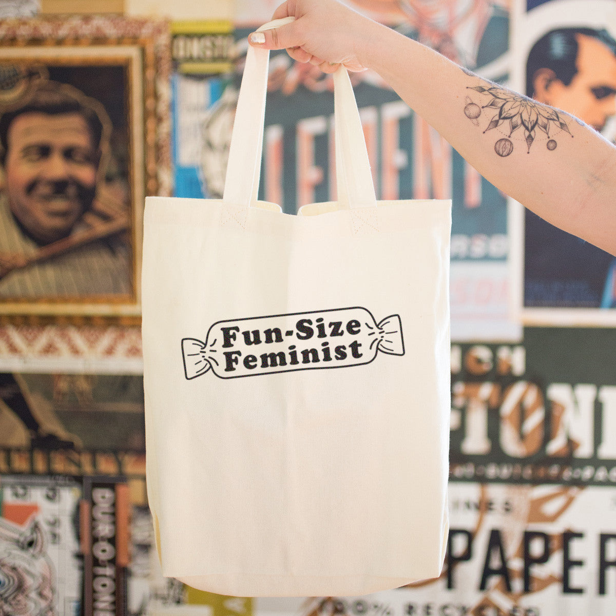 Fun Size Feminist Cotton Tote Bag