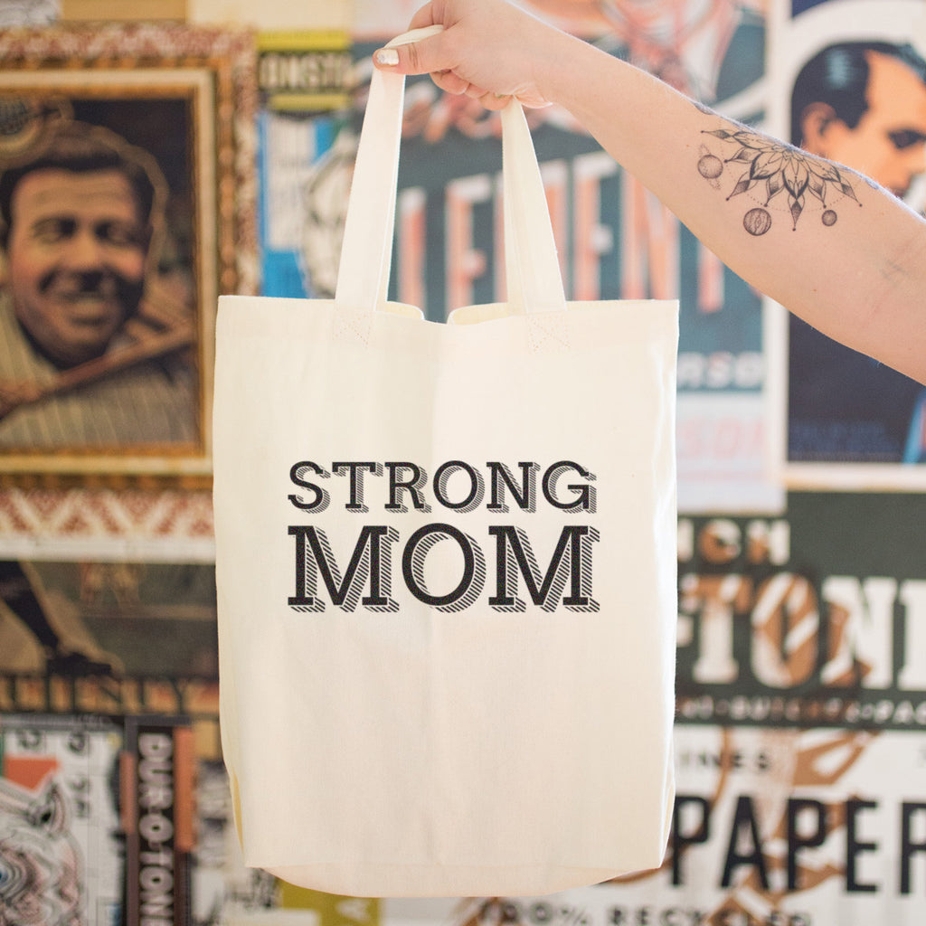 Strong Mom Cotton Tote Bag - pipercleo.com