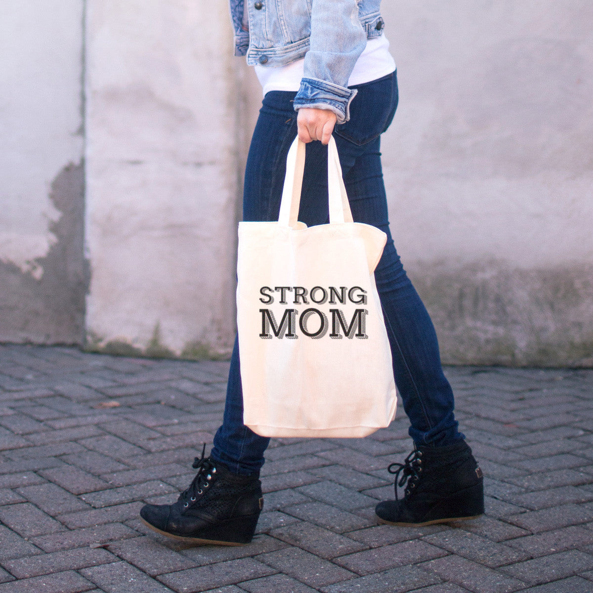 Strong Mom Cotton Tote Bag