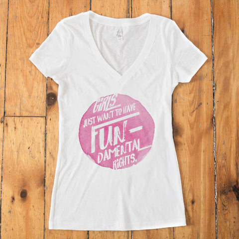Girls Just Want to Have Fundamental Rights V-Neck T-shirt