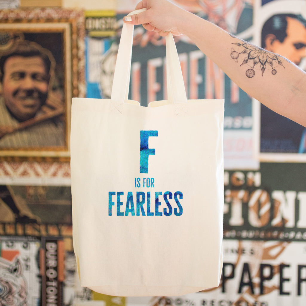 F is for FEARLESS Cotton Tote Bag - pipercleo.com