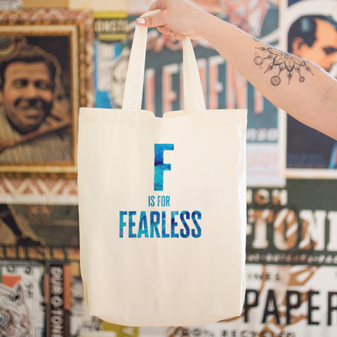 F is for FEARLESS Cotton Tote Bag