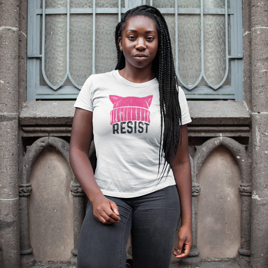 RESIST - Pussy Hat Ladies' Boyfriend T-Shirt - pipercleo.com
